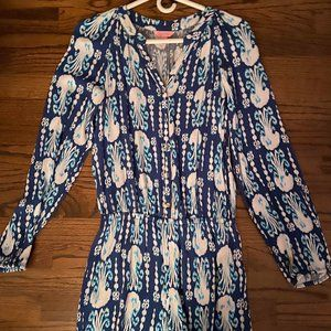Lily Pulitzer long sleeve blue jellyfish romper